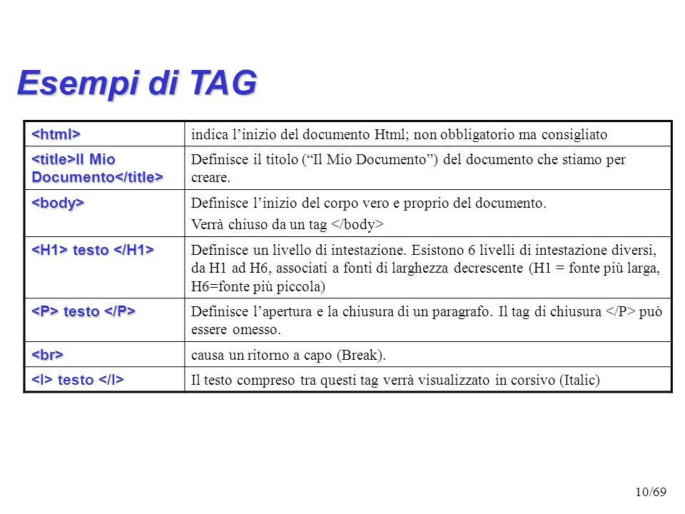 9/69 I TAG TAG VUOTO TAG VUOTO : Es: inserisce una linea orizzontale nel punto in cui viene inserito; l'attributo height=