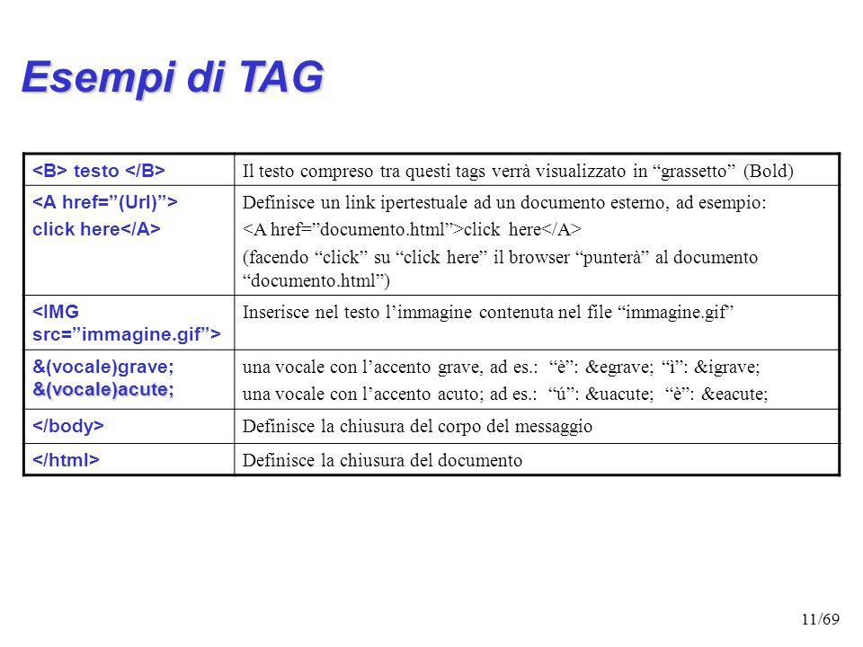 10/69 Esempi di TAG <html> indica linizio del documento Html; non obbligatorio ma consigliato Il Mio Documento Il Mio Documento Definisce il titolo (I