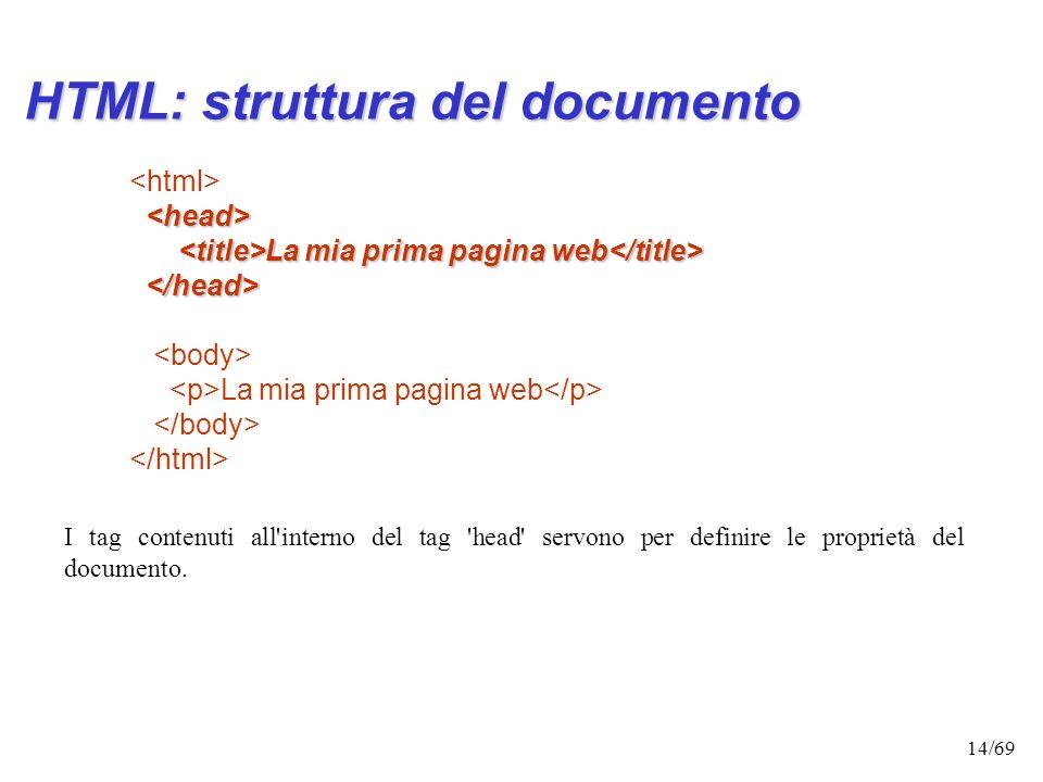 13/69 - contiene informazioni non immediatamente percepibili, ma che riguardano il modo in cui il documento deve essere letto e interpretato. Due tag