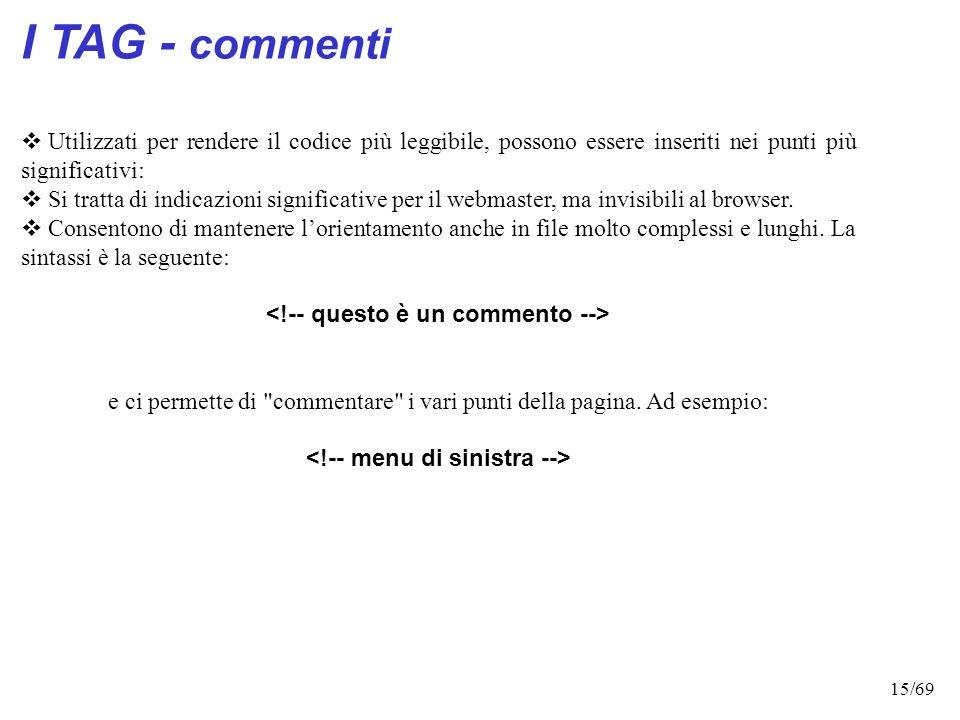 14/69 La mia prima pagina web La mia prima pagina web La mia prima pagina web HTML: struttura del documento I tag contenuti all'interno del tag 'head'