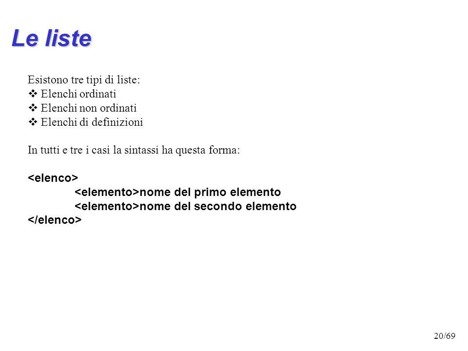 19/69 Allineamento del testo L'attributo 'align', consente lallineamento del testo a sinistra, a destra o al centro della pagina AllineamentoSintassi
