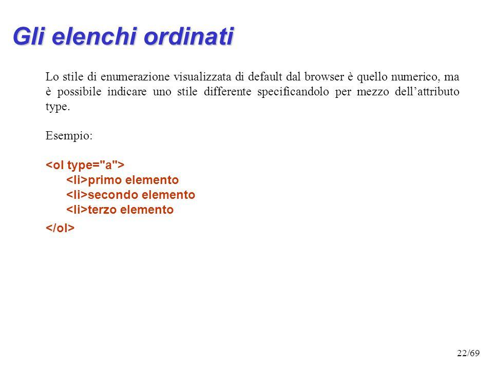 21/69 Gli elenchi ordinati Esempio: Elenco elementi primo elemento secondo elemento terzo elemento testo che segue la lista Le liste ordinate richiedo