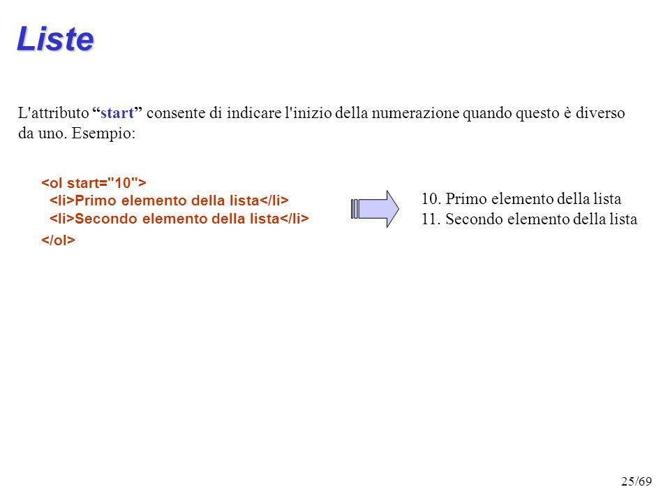24/69 Valore dellattributo typeStile di numerazione type=iNumeri romani minuscoli primo secondo terzo type=INumeri romani maiuscoli primo secondo terz