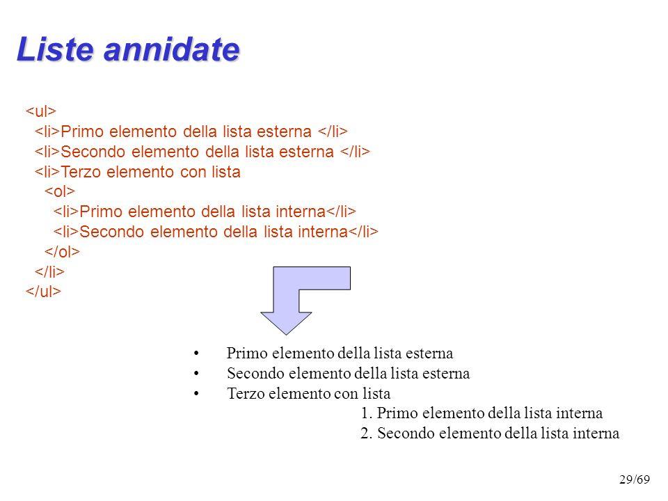 28/69 Esempio: Ecco i principali tag per delimitare il testo: Il tag p individua l'apertura di un nuovo paragrafo Il tag div individua l'apertura di u