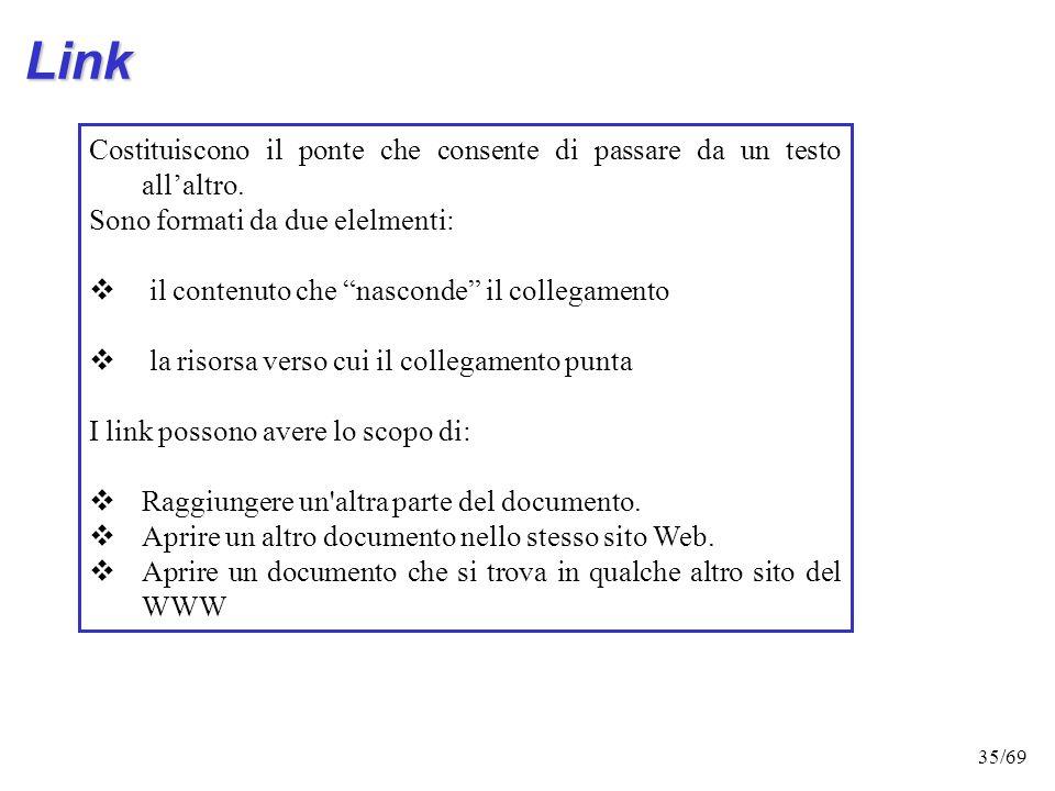 34/69 Titoli, paragrafi, blocchi di testo e contenitori Nome tag Descrizione <h1></h1>…<h6></h6> H sta per heading, ossia titolo. E formattato in gras
