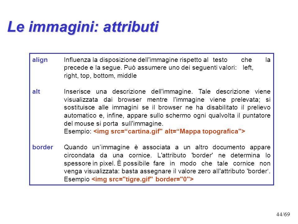 43/69 Le immagini Ecco come appariranno i tags allinterno del documento ELENCO.HTML (contenuto nella cartella
