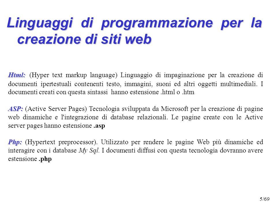 4/69 PROTOCOLLO PROTOCOLLO: indica il tipo di risorse a cui si sta accedendo (ftp, http..) Es. protocollo ftp (ftp://ftp.sci.univr.it/index.html) perm