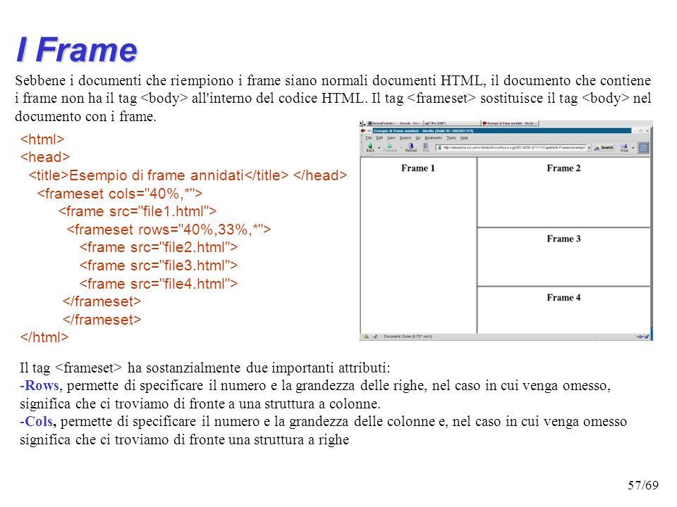 56/69 I Frame Il tag frame permette di suddividere una finestra di un browser in sotto finestre ciascuna delle quali può visualizzare un documento HTM