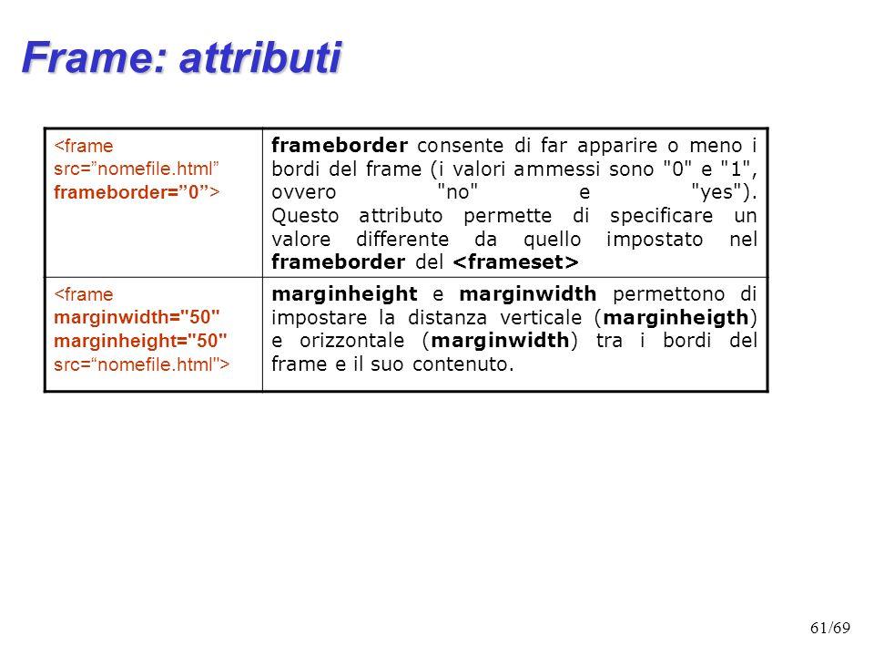 60/69 Frame: attributi Lattributo scrolling (di default impostato a yes) specifica se si vuol consentire o meno allutente di poter scorrere il frame.