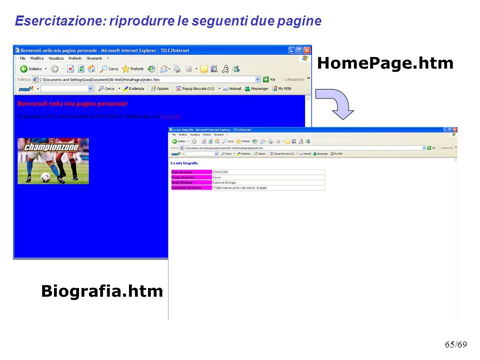 64/69 HTML: MAIUSCOLO O MINUSCOLO? LHTML è case unsensitive, cioè indipendente dal formato. Questo significa che è del tutto indifferente se scrivere