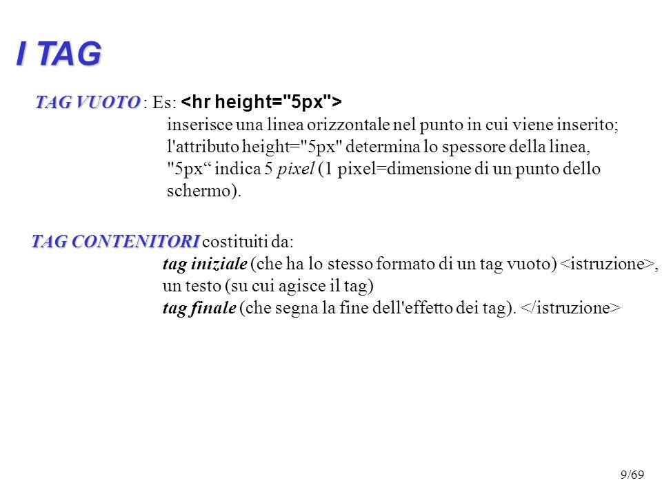 8/69 I TAG: -Possiedono nomi diversi a seconda della loro funzione - Possono assumere diverse forme: Tag Semplici o vuoti Tag Semplici o vuoti: servon