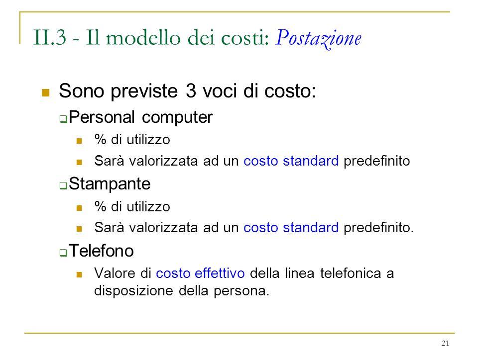 21 II.3 - Il modello dei costi: Postazione Sono previste 3 voci di costo: Personal computer % di utilizzo Sarà valorizzata ad un costo standard predefinito Stampante % di utilizzo Sarà valorizzata ad un costo standard predefinito.