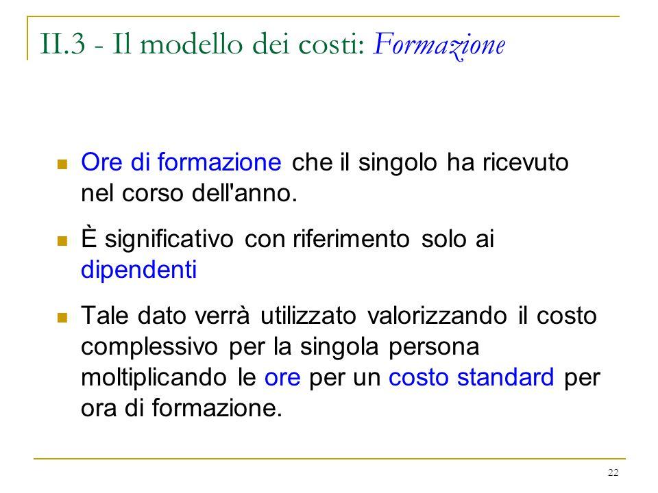 22 II.3 - Il modello dei costi: Formazione Ore di formazione che il singolo ha ricevuto nel corso dell anno.