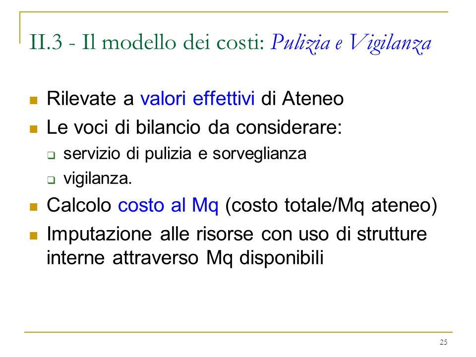 25 II.3 - Il modello dei costi: Pulizia e Vigilanza Rilevate a valori effettivi di Ateneo Le voci di bilancio da considerare: servizio di pulizia e sorveglianza vigilanza.