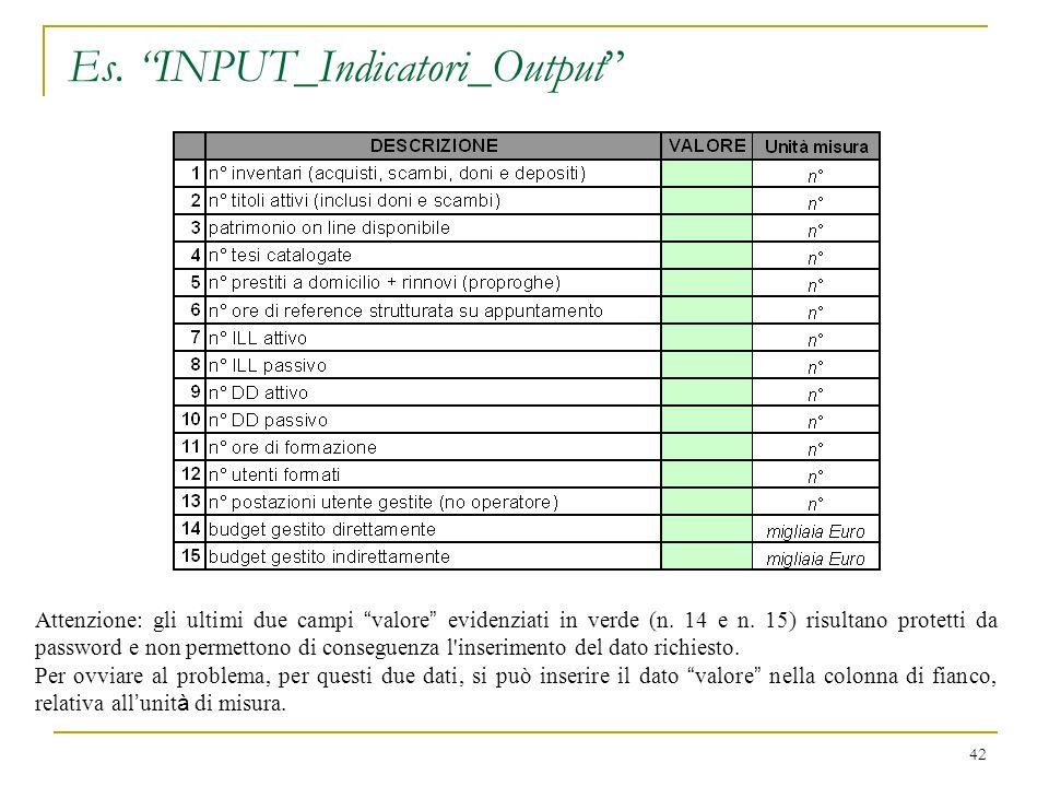 Es.INPUT_Indicatori_Output 42 Attenzione: gli ultimi due campi valore evidenziati in verde (n.
