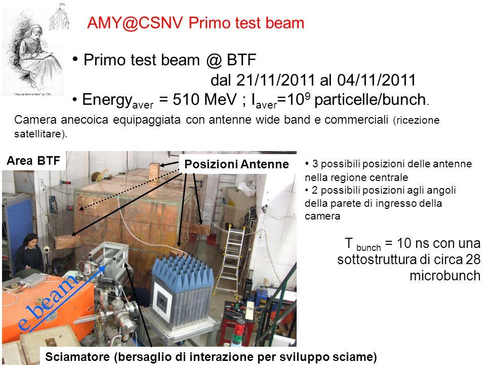 AMY@CSNV Primo test beam Primo test beam @ BTF dal 21/11/2011 al 04/11/2011 Energy aver = 510 MeV ; I aver =10 9 particelle/bunch. Area BTF Posizioni