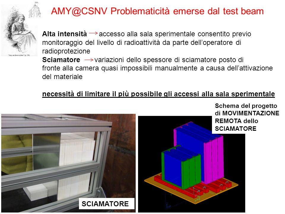 AMY@CSNV Problematicità emerse dal test beam Alta intensità accesso alla sala sperimentale consentito previo monitoraggio del livello di radioattività