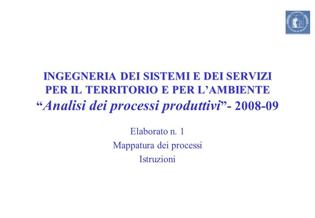 INGEGNERIA DEI SISTEMI E DEI SERVIZI PER IL TERRITORIO E PER LAMBIENTE INGEGNERIA DEI SISTEMI E DEI SERVIZI PER IL TERRITORIO E PER LAMBIENTE Analisi dei processi produttivi - 2008-09 Elaborato n.