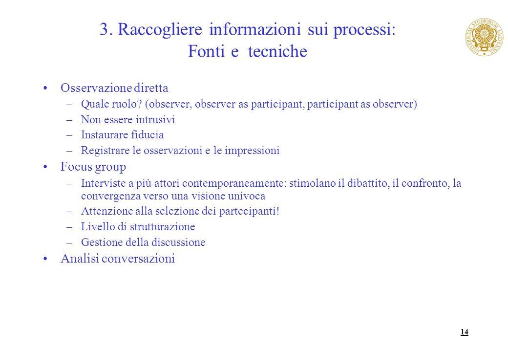 14 Osservazione diretta –Quale ruolo? (observer, observer as participant, participant as observer) –Non essere intrusivi –Instaurare fiducia –Registra