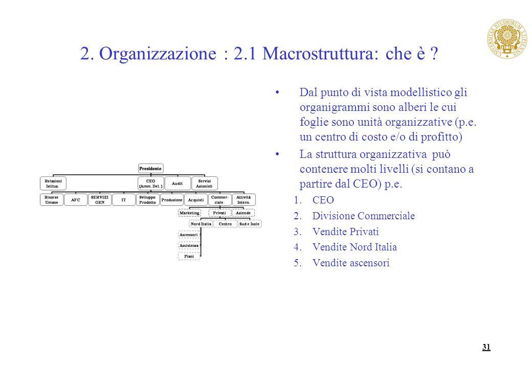 31 2. Organizzazione : 2.1 Macrostruttura: che è ? Dal punto di vista modellistico gli organigrammi sono alberi le cui foglie sono unità organizzative