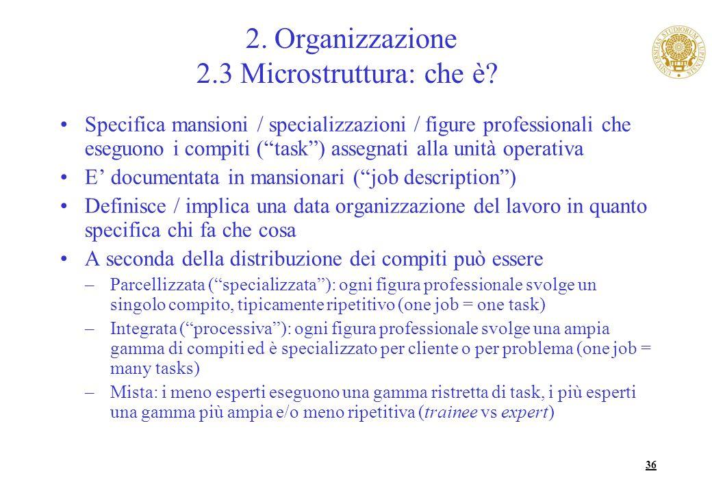 36 2. Organizzazione 2.3 Microstruttura: che è? Specifica mansioni / specializzazioni / figure professionali che eseguono i compiti (task) assegnati a