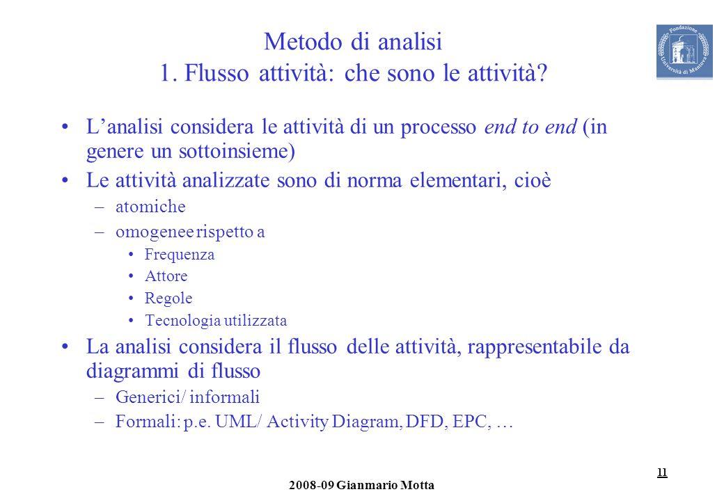11 2008-09 Gianmario Motta Metodo di analisi 1. Flusso attività: che sono le attività? Lanalisi considera le attività di un processo end to end (in ge