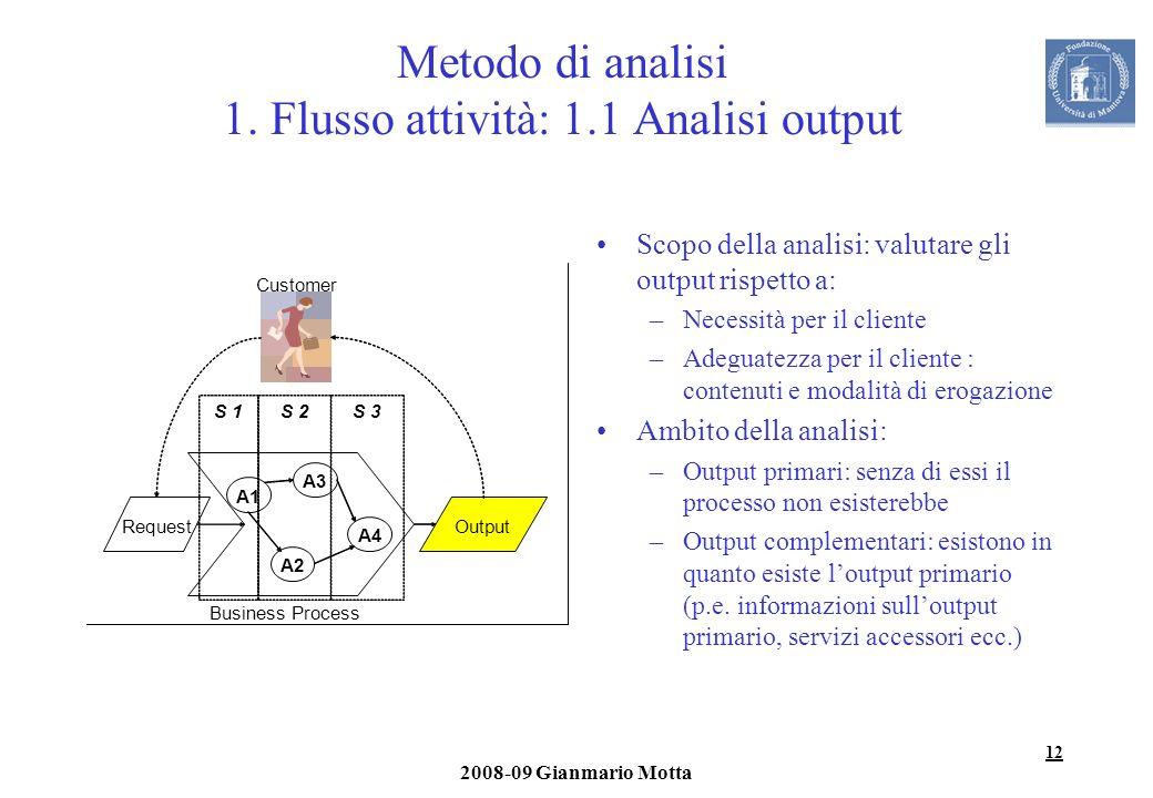 12 2008-09 Gianmario Motta Metodo di analisi 1. Flusso attività: 1.1 Analisi output Scopo della analisi: valutare gli output rispetto a: –Necessità pe