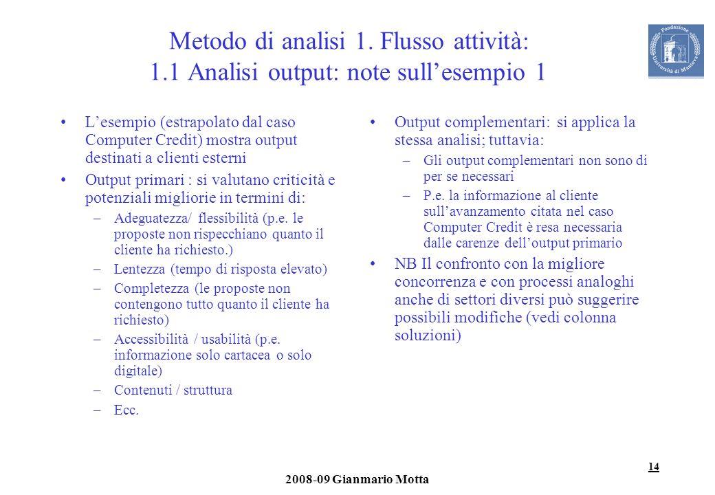 14 2008-09 Gianmario Motta Metodo di analisi 1. Flusso attività: 1.1 Analisi output: note sullesempio 1 Lesempio (estrapolato dal caso Computer Credit