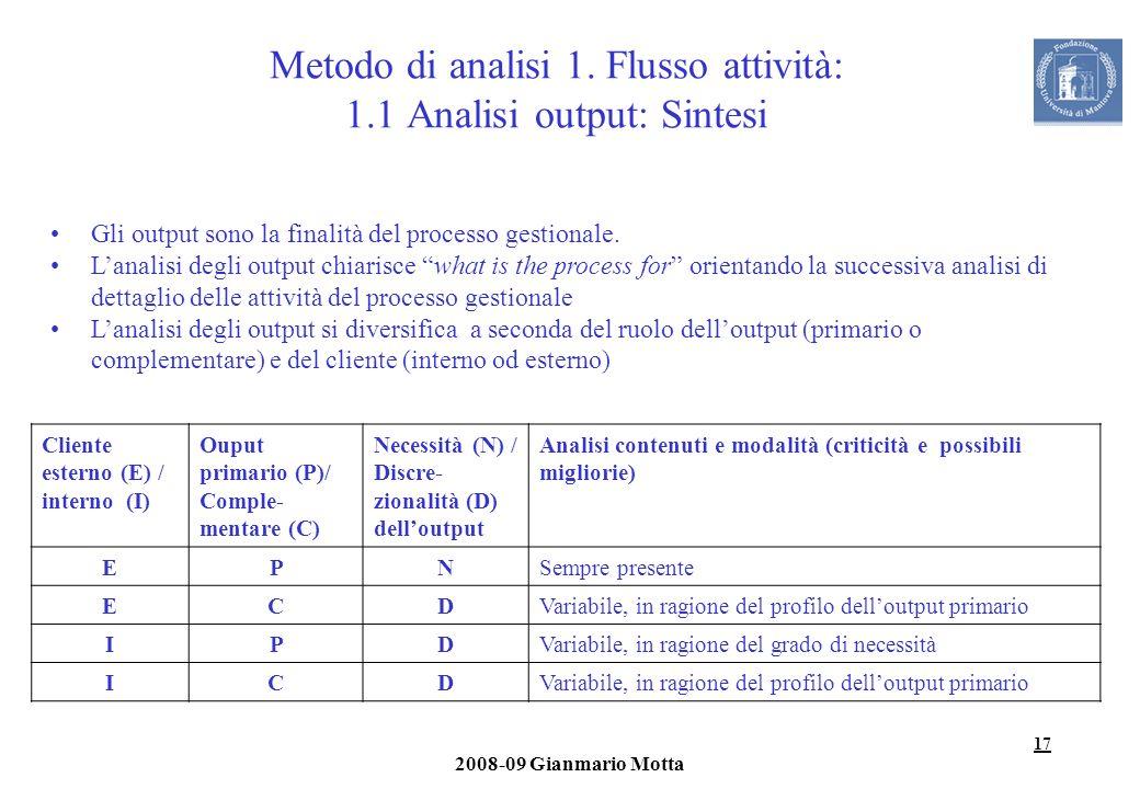 17 2008-09 Gianmario Motta Metodo di analisi 1. Flusso attività: 1.1 Analisi output: Sintesi Cliente esterno (E) / interno (I) Ouput primario (P)/ Com