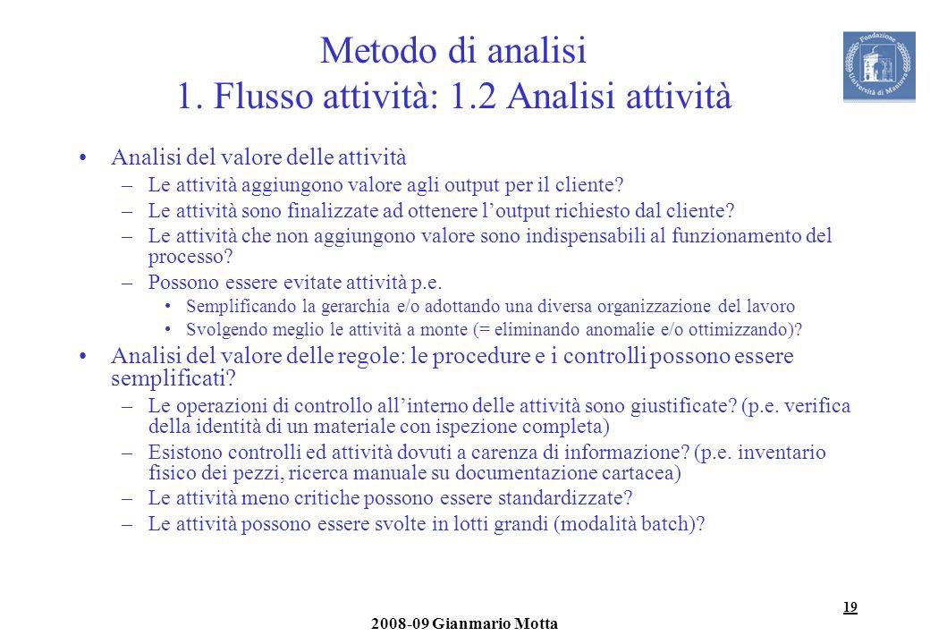 19 2008-09 Gianmario Motta Metodo di analisi 1. Flusso attività: 1.2 Analisi attività Analisi del valore delle attività –Le attività aggiungono valore