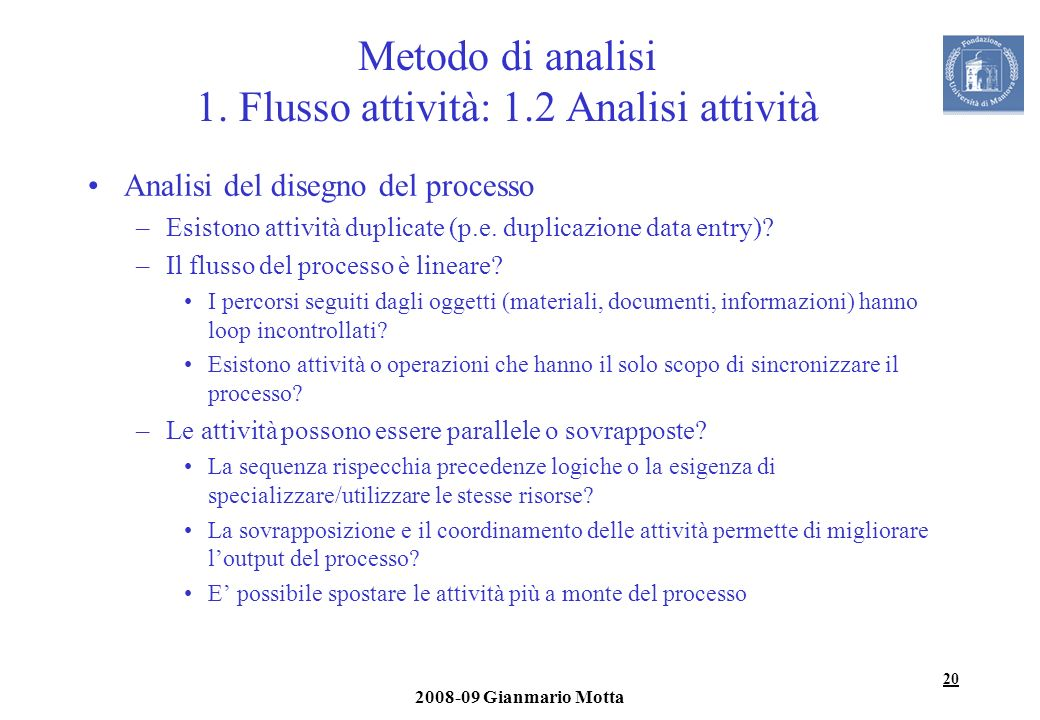 20 2008-09 Gianmario Motta Metodo di analisi 1. Flusso attività: 1.2 Analisi attività Analisi del disegno del processo –Esistono attività duplicate (p