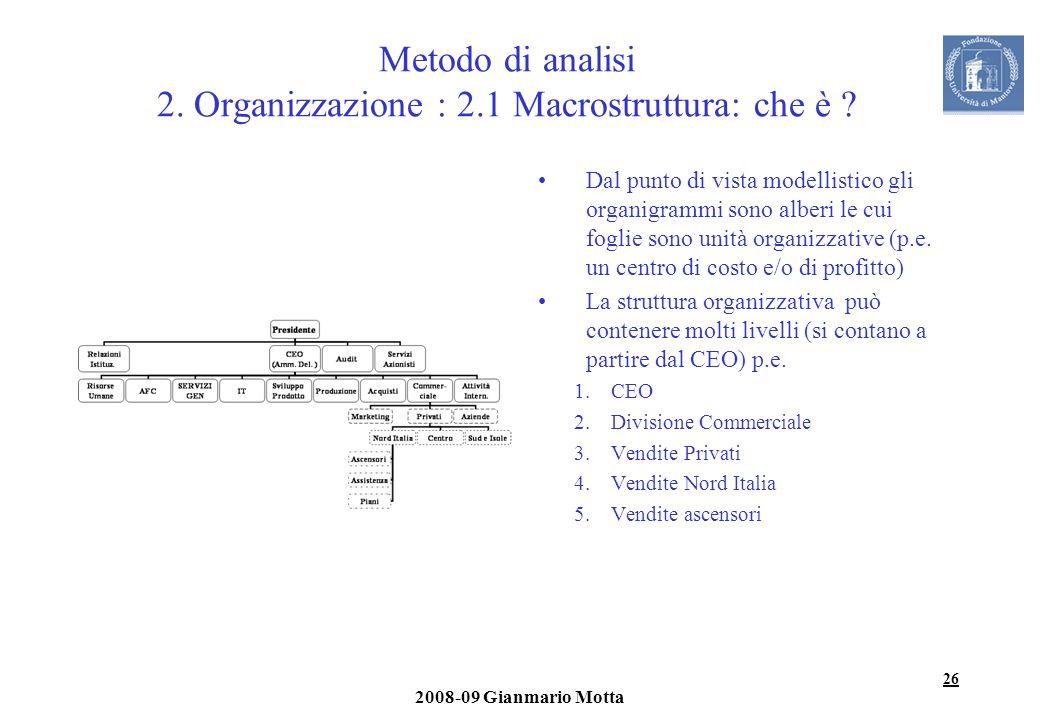 26 2008-09 Gianmario Motta Metodo di analisi 2. Organizzazione : 2.1 Macrostruttura: che è ? Dal punto di vista modellistico gli organigrammi sono alb