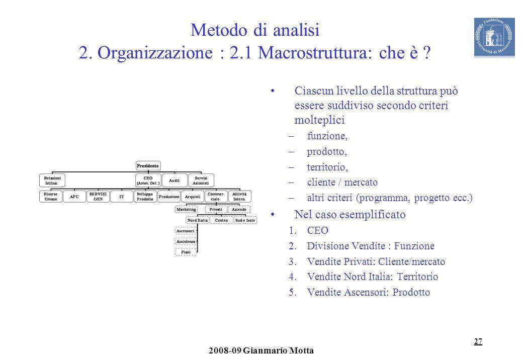 27 2008-09 Gianmario Motta Metodo di analisi 2. Organizzazione : 2.1 Macrostruttura: che è ? Ciascun livello della struttura può essere suddiviso seco