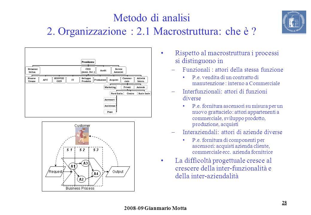 28 2008-09 Gianmario Motta Metodo di analisi 2. Organizzazione : 2.1 Macrostruttura: che è ? Rispetto al macrostruttura i processi si distinguono in –