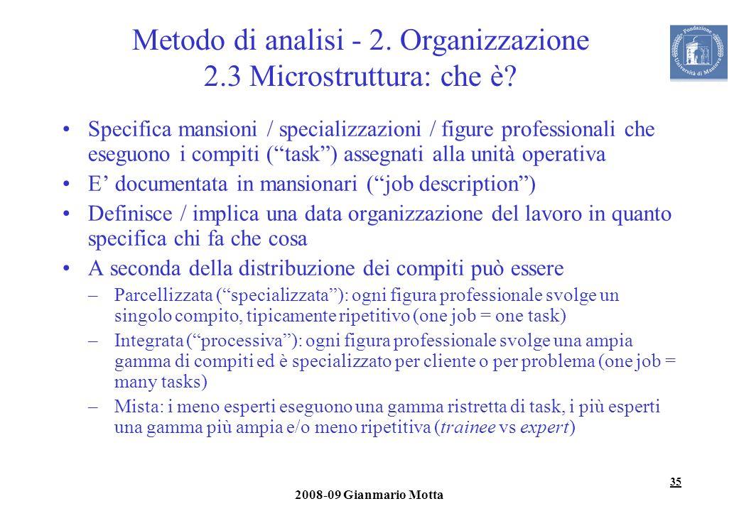 35 2008-09 Gianmario Motta Metodo di analisi - 2. Organizzazione 2.3 Microstruttura: che è? Specifica mansioni / specializzazioni / figure professiona
