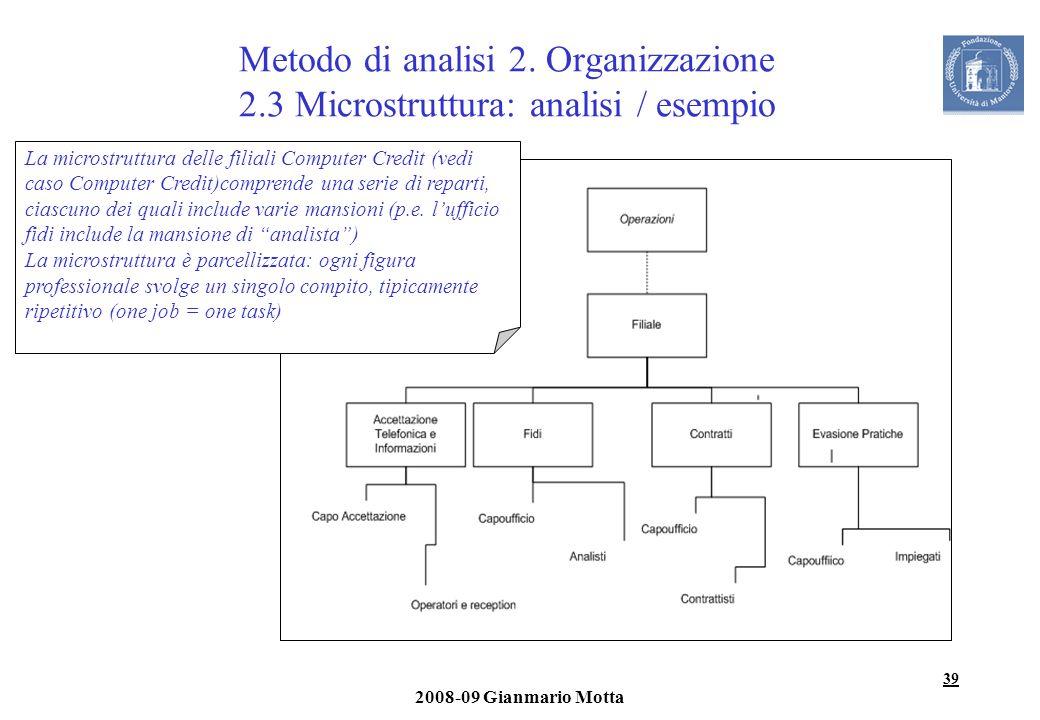 39 2008-09 Gianmario Motta Metodo di analisi 2. Organizzazione 2.3 Microstruttura: analisi / esempio La microstruttura delle filiali Computer Credit (