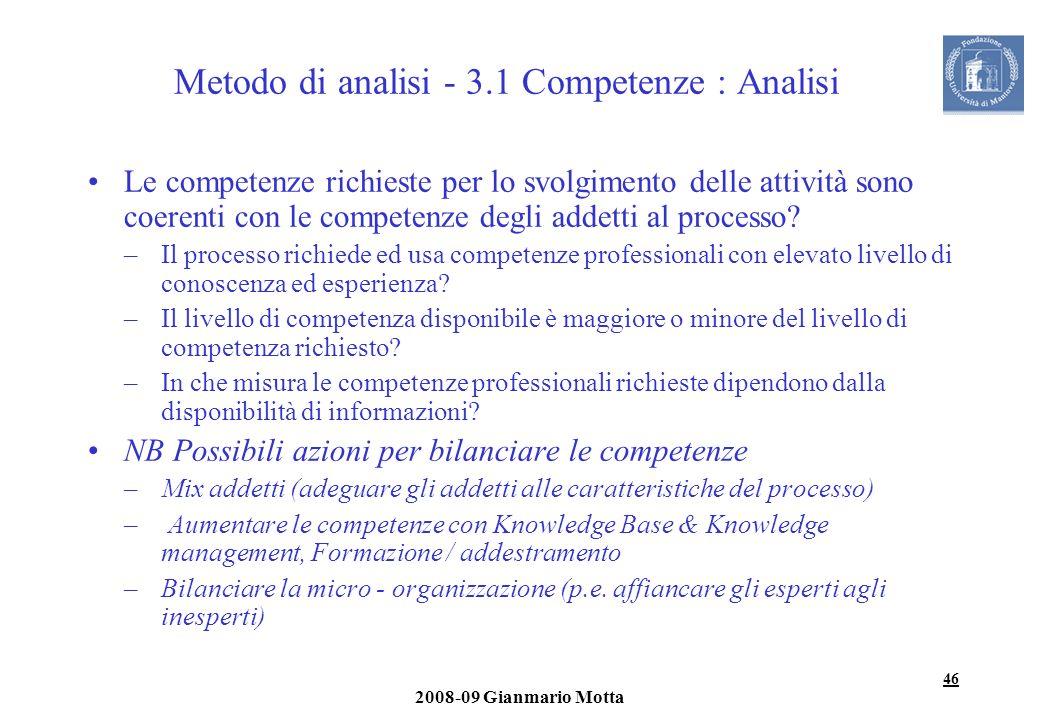 46 2008-09 Gianmario Motta Metodo di analisi - 3.1 Competenze : Analisi Le competenze richieste per lo svolgimento delle attività sono coerenti con le