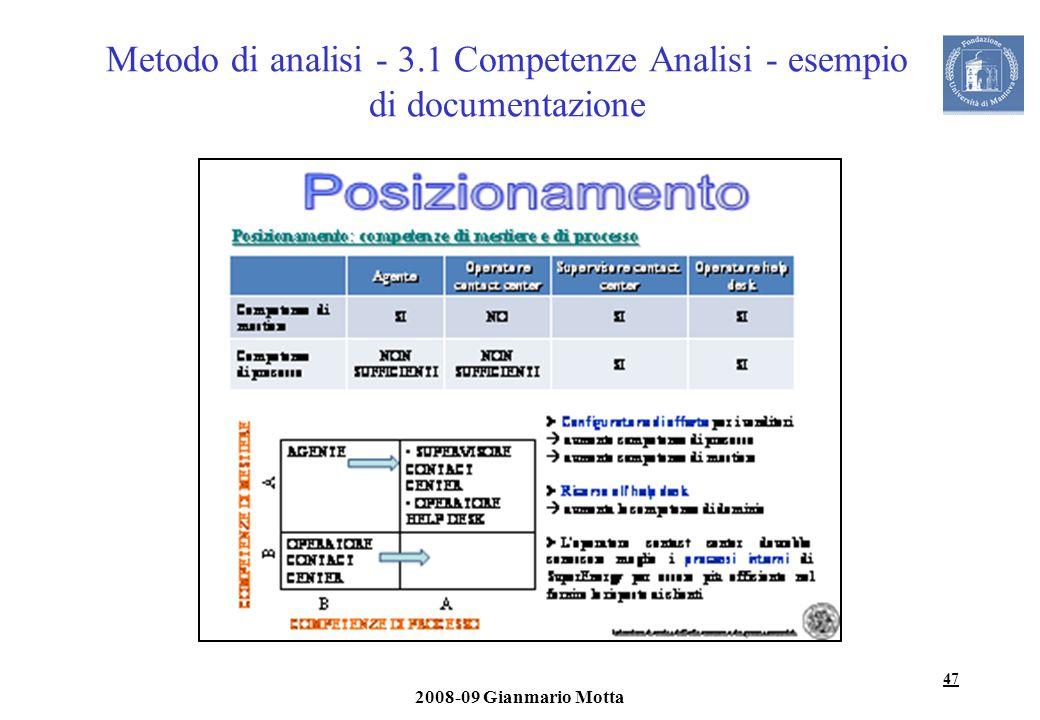 47 2008-09 Gianmario Motta Metodo di analisi - 3.1 Competenze Analisi - esempio di documentazione