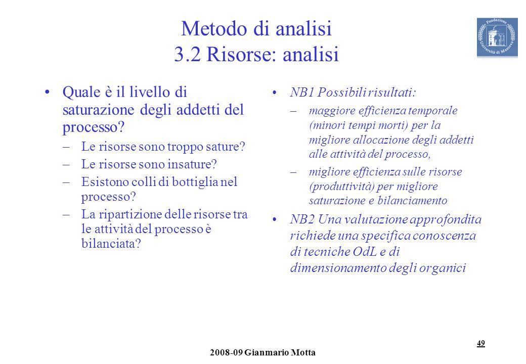 49 2008-09 Gianmario Motta Metodo di analisi 3.2 Risorse: analisi Quale è il livello di saturazione degli addetti del processo? –Le risorse sono tropp