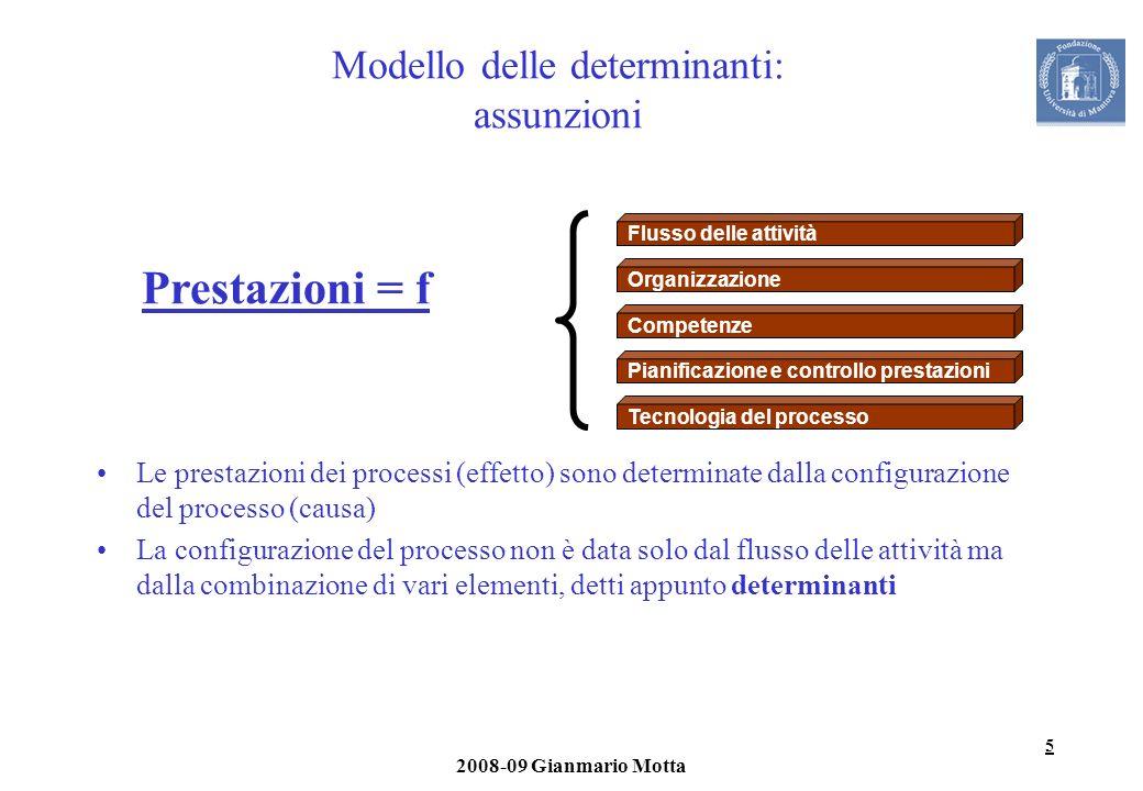 5 2008-09 Gianmario Motta Modello delle determinanti: assunzioni Le prestazioni dei processi (effetto) sono determinate dalla configurazione del proce