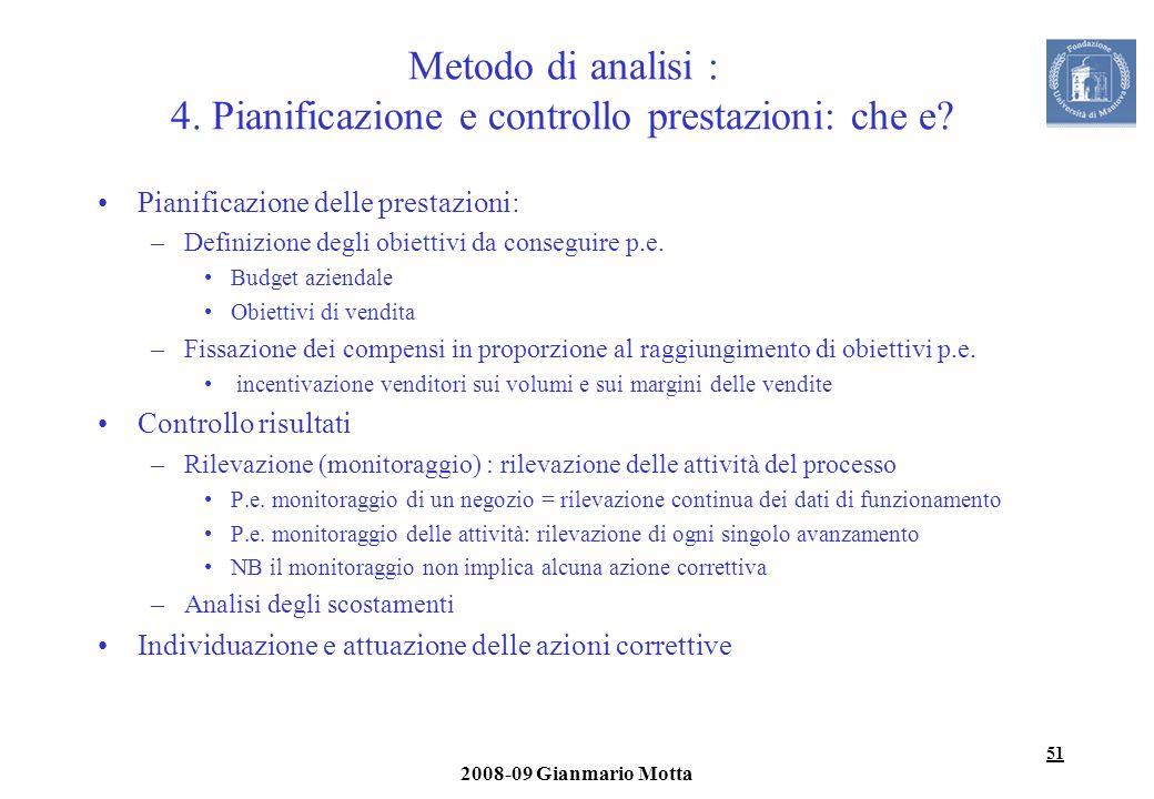 51 2008-09 Gianmario Motta Metodo di analisi : 4. Pianificazione e controllo prestazioni: che e? Pianificazione delle prestazioni: –Definizione degli