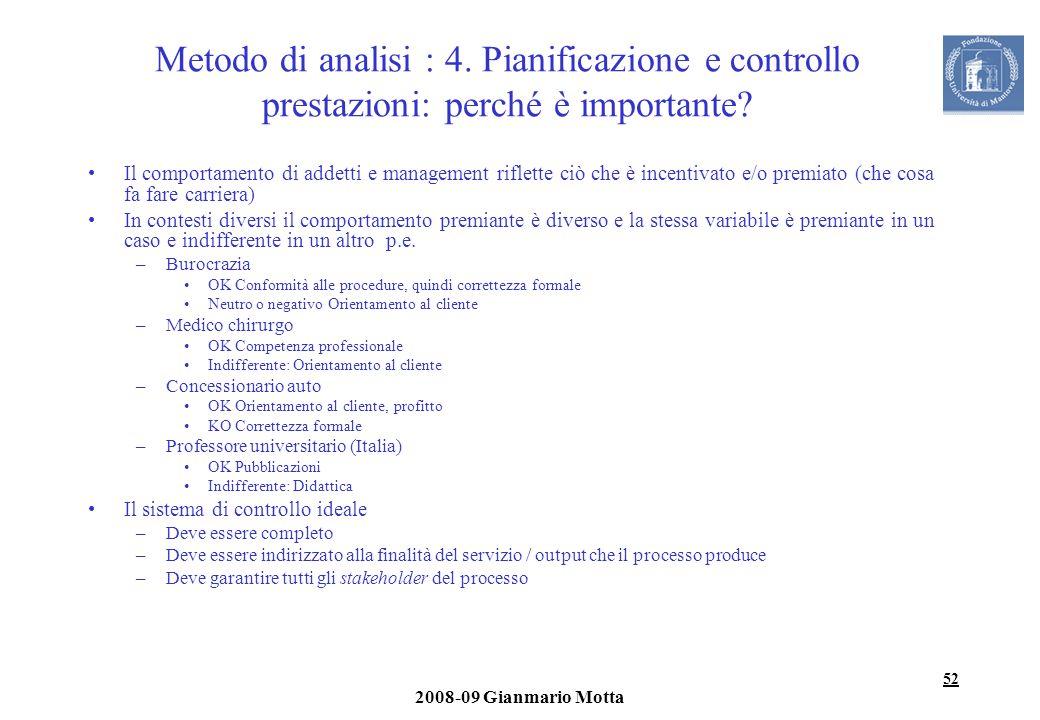 52 2008-09 Gianmario Motta Metodo di analisi : 4. Pianificazione e controllo prestazioni: perché è importante? Il comportamento di addetti e managemen