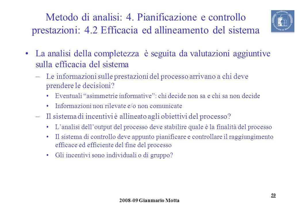 59 2008-09 Gianmario Motta Metodo di analisi: 4. Pianificazione e controllo prestazioni: 4.2 Efficacia ed allineamento del sistema La analisi della co
