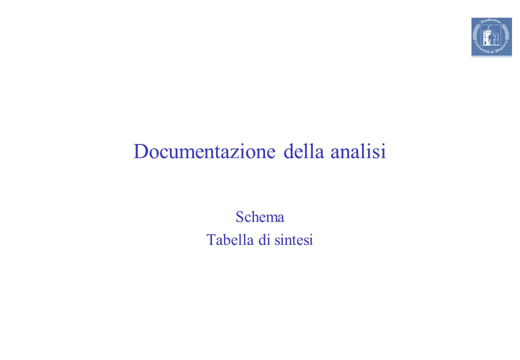 Documentazione della analisi Schema Tabella di sintesi
