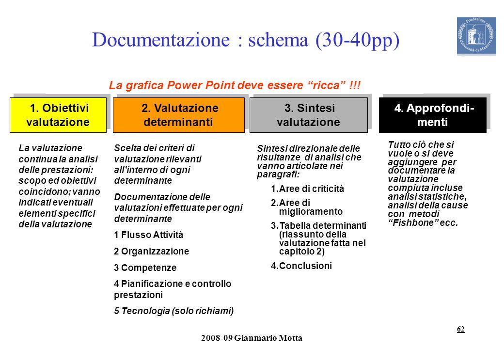 62 2008-09 Gianmario Motta Documentazione : schema (30-40pp) 3. Sintesi valutazione 3. Sintesi valutazione 2. Valutazione determinanti 1. Obiettivi va