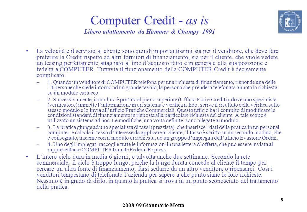 8 2008-09 Gianmario Motta Computer Credit - as is Libero adattamento da Hammer & Champy 1991 La velocità e il servizio al cliente sono quindi importan