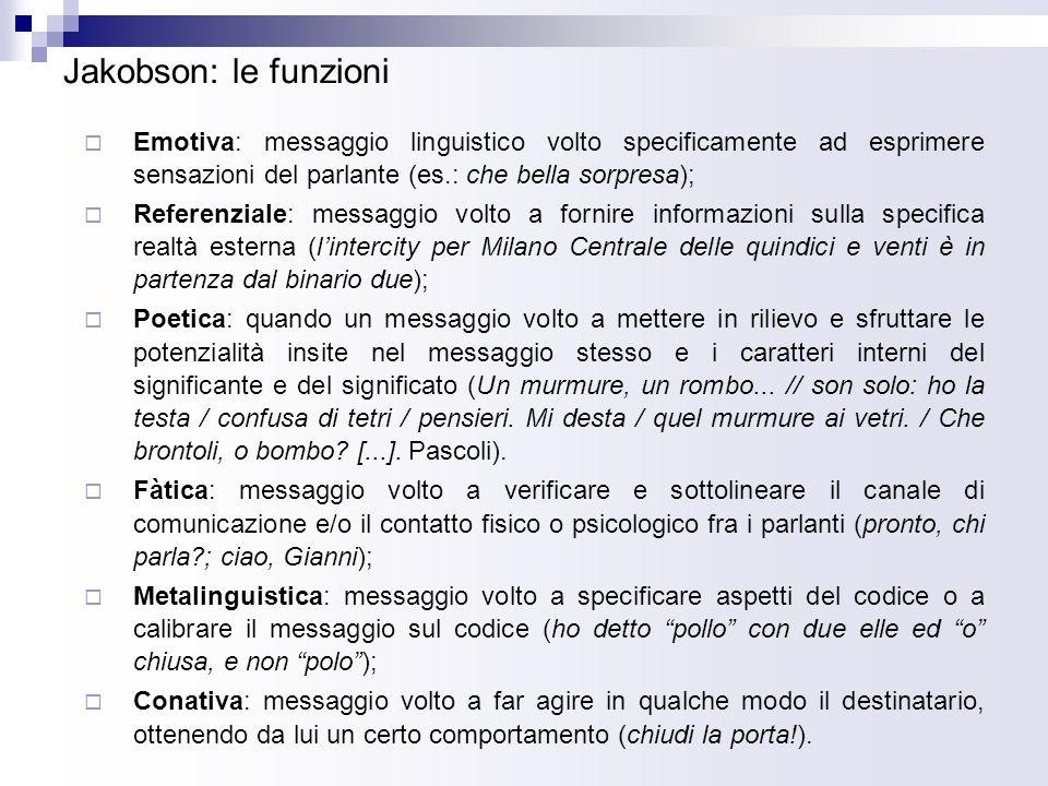Jakobson: altro schema delle funzioni Funzione fàtica