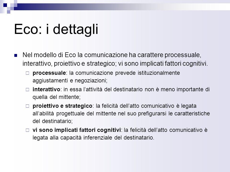 Eco: lo schema La comunicazione secondo Eco è un processo in qualche modo circolare; in esso ha grande importanza lattività interpretativa del destinatario.