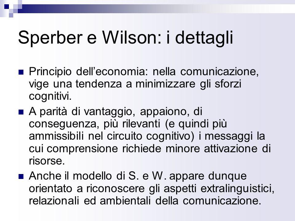 Sperber e Wilson: i dettagli Principio delleconomia: nella comunicazione, vige una tendenza a minimizzare gli sforzi cognitivi. A parità di vantaggio,