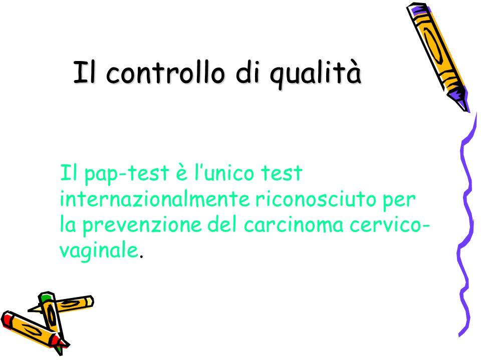 Il controllo di qualità Il pap-test è lunico test internazionalmente riconosciuto per la prevenzione del carcinoma cervico- vaginale.